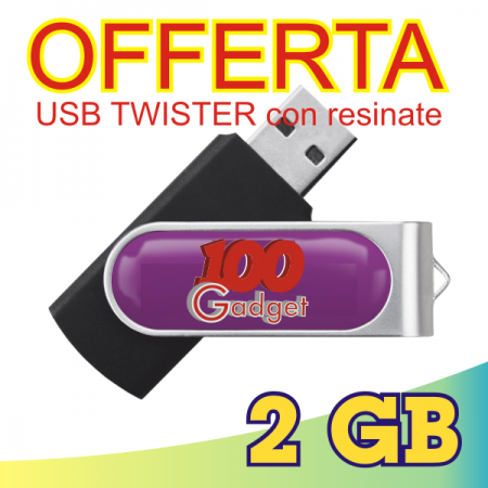 Chiavetta USB 2 GB Twister con resinate